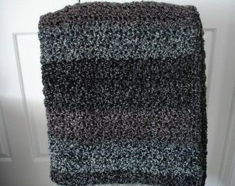 Black/Gray/Brown/Blue Afghan Throw Blanket-New Color!
