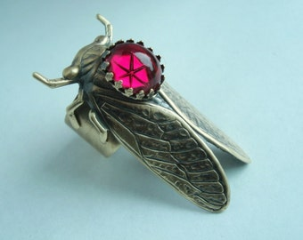 Ruby Star Cicada Bug Ring, Custom Hand Crafted, Lovely Jewel, Metal Bonded NOT Glued, NO Raw Brass, Quality Materials and Craftmanship