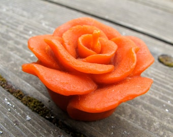Sunset Orange Beeswax Floating ROSE votive candle