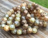 10mm English Cut Brown Natural Mix Czech glass beads 15mm English cut Beads