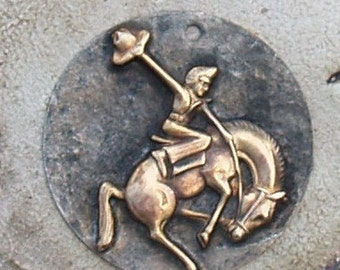 "Soldered Rodeo Cowgirl Pendant Metal Raw Brass Southwestern Charm Metalwork Mixed Metals Jewelry Supplies choose 1 1/4"" or 1"" Cowboy"