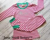 Personalized Girls Pajamas-Pink and White Striped Pj's with Name-  PJ- Kids Pajamas- Monogramed Pajamas-Striped Childrens Pajamas- Kids