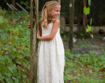 Flower Girl Dress-lvory Lace Halter Dress- White/Ivory Flower Girl Dresses- Ivory Girls Dress-Cream Dress-Rustic Wedding Dress- White Halter