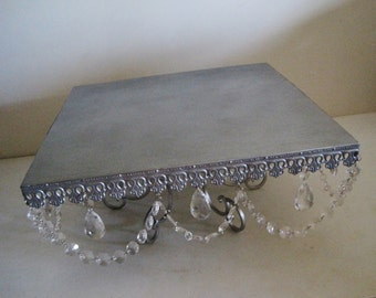 """18"""" Square Shabby Creme Brulee Scroll Cake Stand MADE TO ORDER"""