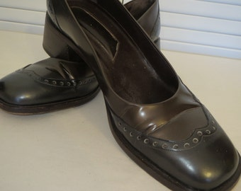 vintage Bronze and Pewter Leather Spectator Pumps by Joan and David - size 10 medium