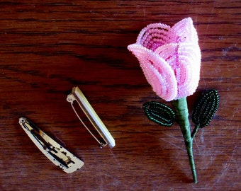 Pink Rosebud Pin or Hairclip - Valentine's Day- French Beaded Flowers