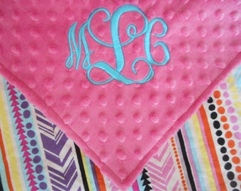 Personalized Monogrammed Baby Security Lovey Blanket Colorful Pink Minky Baby Girl 17x17