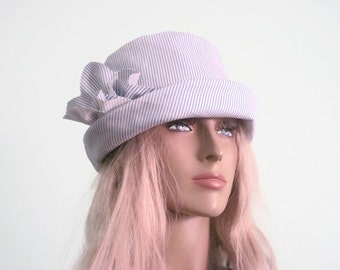 Bucket Hat Blue White stripe Summer Hat Pool Hat