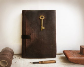 large brown leather journal - gift for him - rustic brown journal - huge notebook - diary with vintage style pages - The Key of Memories