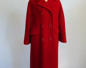60s wool Pea Coat in CRANBERRY red size medium large