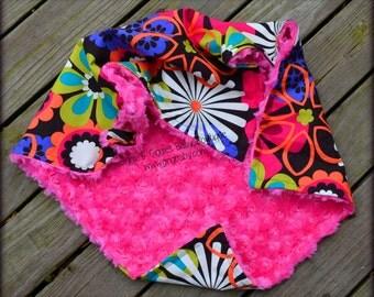 Minky Blanket,Flowers,Flower Shower,Hot Pink Minky,Personalized Blanket,Baby Girl,Baby Blanket,Baby Shower Gift,Nursery Bedding