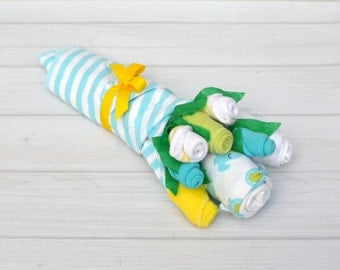 Neutral Baby Gift - Yellow and Aqua Gift Set - Baby Flower Bouquet - Baby Basket - Pregnancy Announcement Gift - Gender Reveal Gift