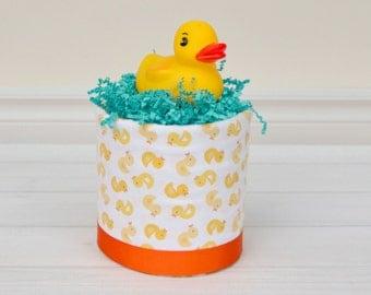 Rubber Duck Diaper Cake, Mini Diaper Cake, Rubber Ducky, Yellow Diaper Cake, Ducky Baby Shower, Baby Shower Gift, Neutral Diaper Cake