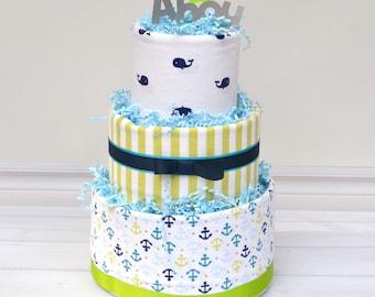 Nautical Diaper Cake, Nautical Baby Shower, Ahoy It's a Boy Baby Shower, Whale Diaper Cake, Nautical Party Ideas, Anchor Shower Decorations
