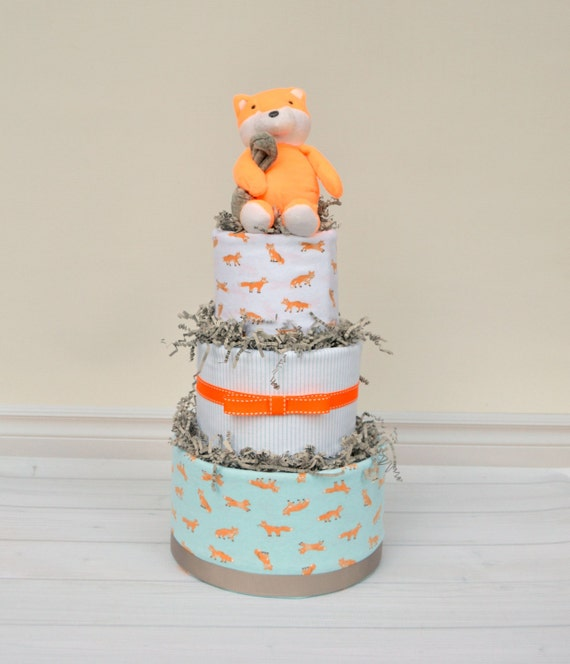 Baby Diaper Cake Decoration : Fox Diaper Cake Fox Baby Shower Decoration or by babyblossomco