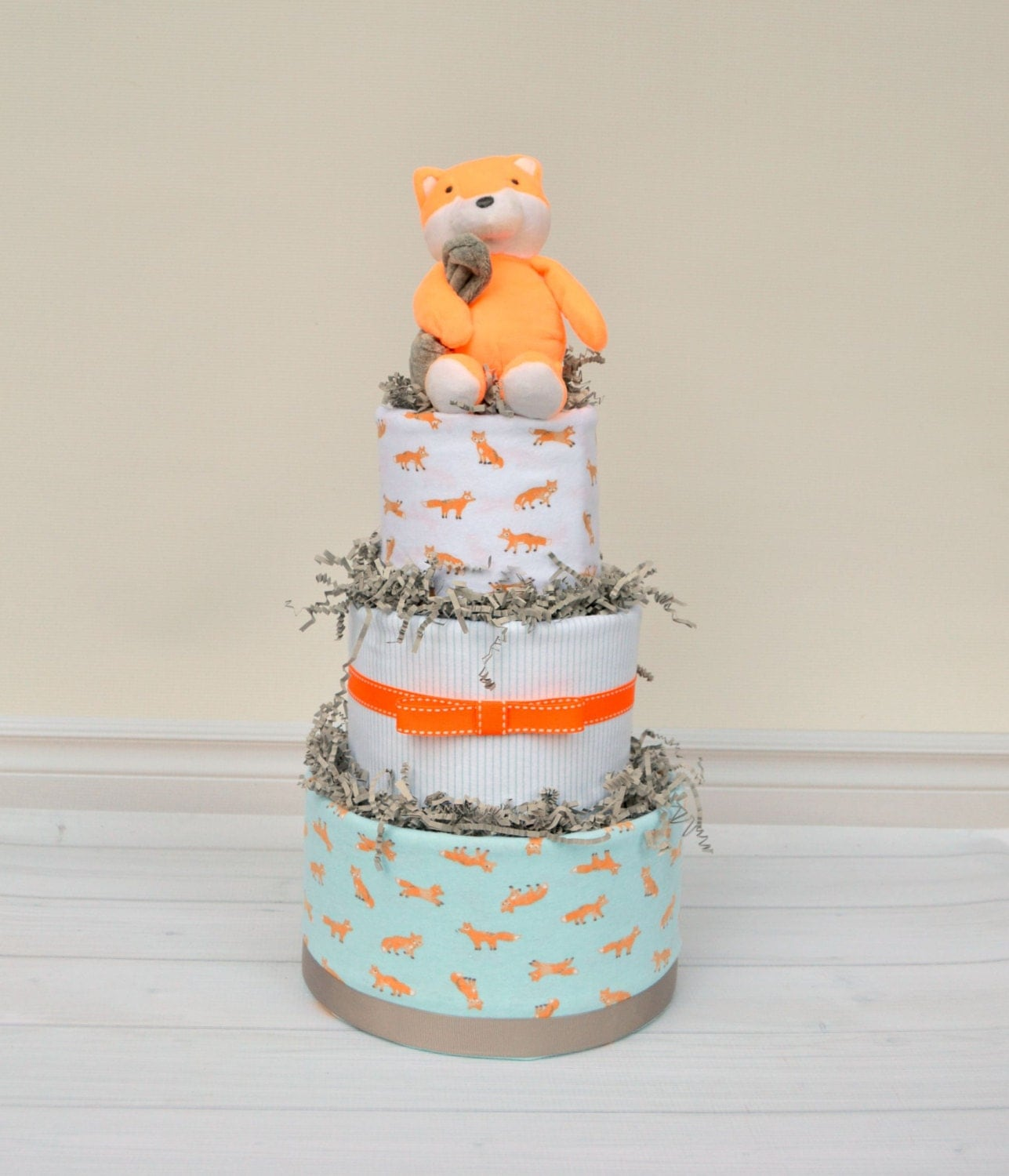 Fox diaper cake fox baby shower decoration or by babyblossomco for Baby shower decoration diaper cake