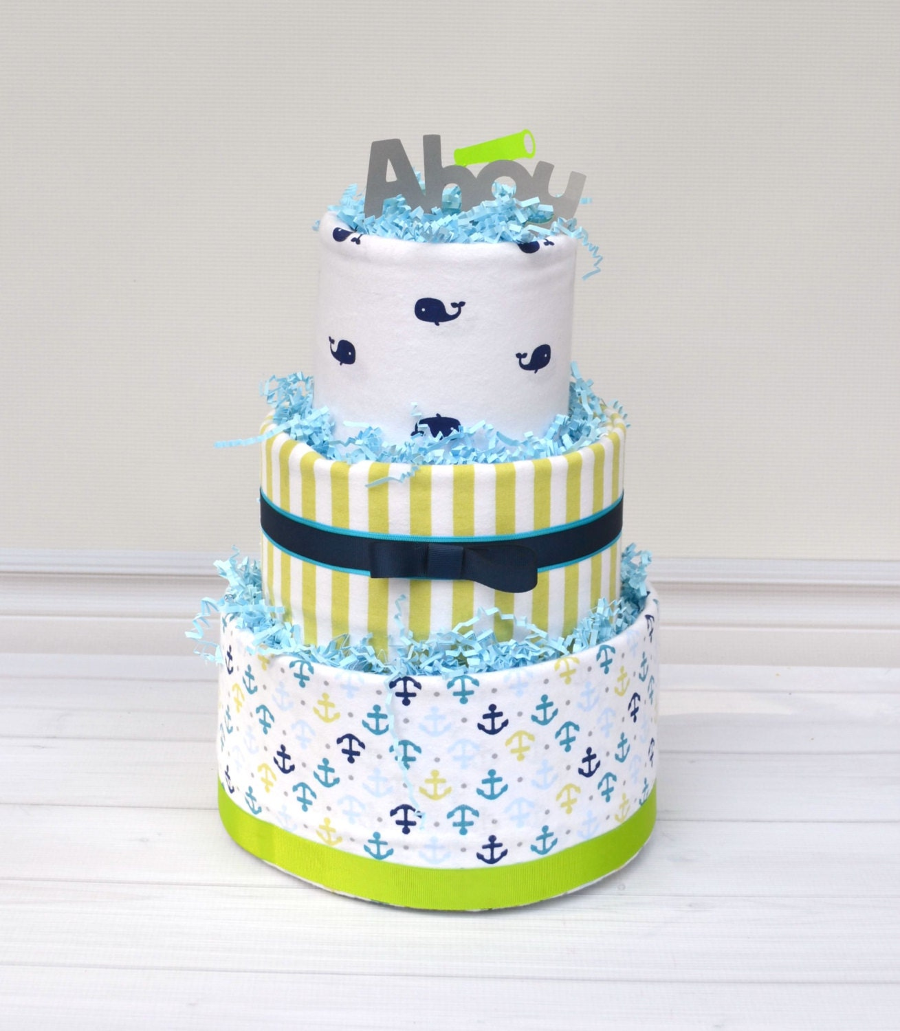 Nautical Diaper Cake Nautical Baby Shower Ahoy It s a Boy Baby