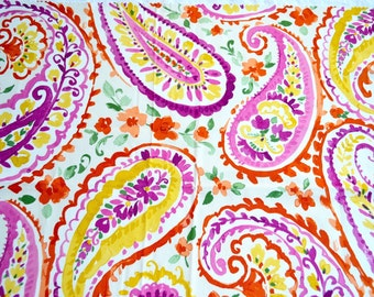 Cotton Fabric - Purple Pink and Orange Paisley on White - 24 x 27 Sample Size