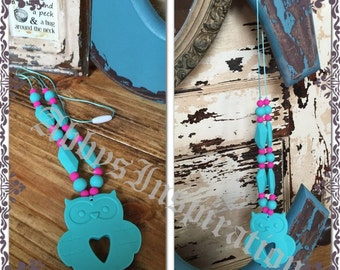 Hoot Owl Silicone Baby Teething Necklace BPA Free Nursing New Mom Baby Shower Gift