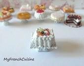 Tutti frutti Vacherin on cake stand- 1/12 Handmade miniature food