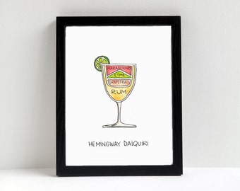 Cocktail Diagram Print - Hemingway Daiquiri