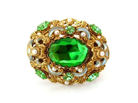 WEST GERMANY Rhinestone Brooch | Green Glass Enamel Faux Pearl Filigree Pin | Vintage 1950s Jewelry