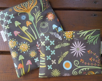 Reusable sandwich and/or snack bag - Reusable sandwich bag - Reuse snack bag - Reusable fabric sandwich and or snack bag - In the garden