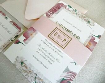 Antique Blush Pink Roses Wedding Invitation Suite for Vintage Wedding - Invitation, RSVP Card, and Belly Band plus Envelopes
