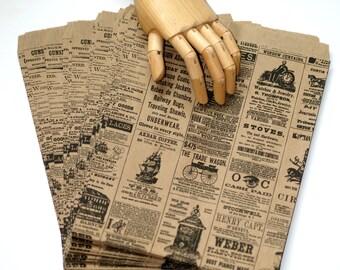 """50 Large Size Newspaper Print Bags ... 8.5"""" x 11"""" Kraft Paper Bags Vintage Newsprint Merchandise Bags Packaging Treat Bags Gift Bags"""