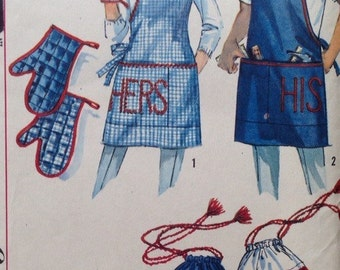 Vintage 1950s Simplicity 4651 His Her Apron, and Oven Mitt