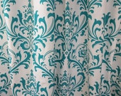 """Fabric shower curtain, Traditions damask true turquoise cotton print, 72"""", 84"""", 90"""", 96"""", 108"""" custom sizes available"""