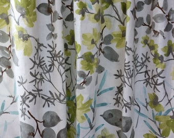 Pair ( two panels) designer curtains, drapes Braemore Gazebo Blend Cloud