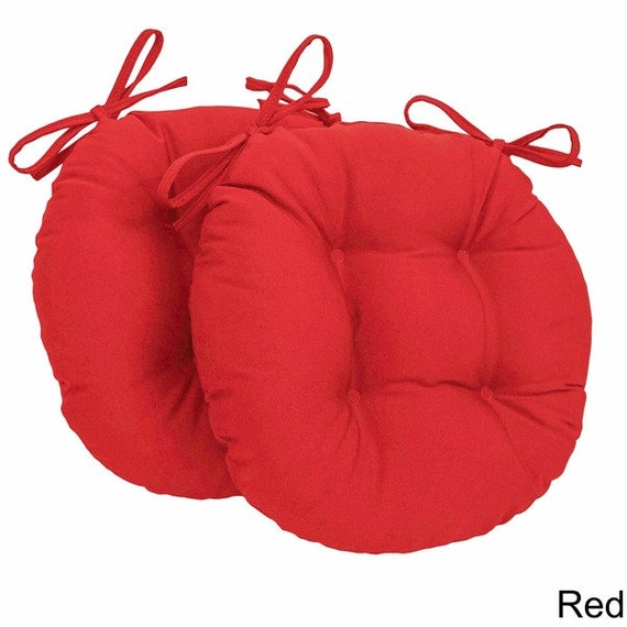 Set Of 2 Round Stool Cushions Tufted Chair Pads Round Seat