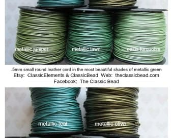 Metallic .5mm Blue Green Colors Leather Cord, .5mm, Metallic leather,.5mm Leather Cord, Round Leather Cord,Metallic Leather Cord, Leather