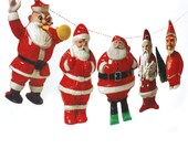 Vintage Santa Claus Garland - kitsch santa claus photo reproductions - Knickerbocker Santa - Irwin Santa - Rosbro Santa - plastic santa