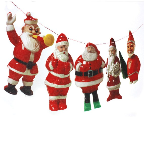 Lot Of 5 Vintage Christmas Decorations Kitsch Santa Claus: Vintage Santa Claus Garland Kitsch Santa Claus Photo