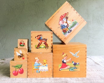 Vintage Wooden Nesting Blocks, Dovetailed with Colorful Scenes