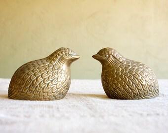Vintage Pair of Brass Quail Figurines