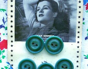 Vintage Prevue Movie  Buttons on Original Card -- RARE --  Joan Bennett - 5 Green Buttons