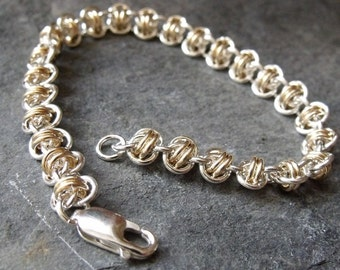"Gold Filled and Sterling Silver ""Barrel Weave"" Bracelet"