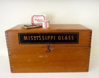 Vintage Mississippi Glass wood box Mississippi Glass Company St. Louis Missouri Glass storage box Wooden box Large file box Advertising box