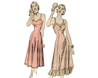 1940s Lingerie Pattern Princess Slip with Ruffles Shoulder Straps Fit and Flare Advance 4872 Bust 30 Vintage Sewing Pattern UNPRINTED