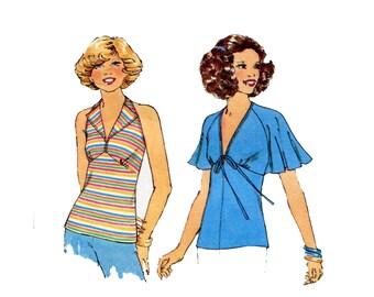 1970s Summer Tops Pattern Halter Flutter Sleeve Deep V Neckline Bare Back Stretch Knits Simplicity 8030 Bust 32 34 Vintage Sewing Pattern