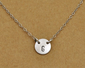 bridesmaid gift, wedding gift, INITIAL TAG NECKLACE, antiqued sterling silver tag necklace, charm necklace, silver letter necklace,