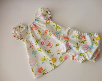 Girls and babies peasant dress white floral with matching bloomers