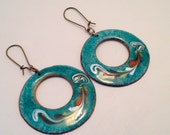 Vintage Enamel Dangly Earrings 1970's Turquoise Brass Bohemian