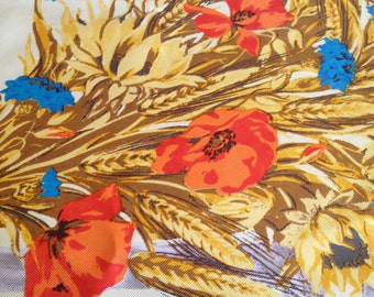 FENDI Vintage Silk Foulard Wheat and Poppies Design Made in ITALY