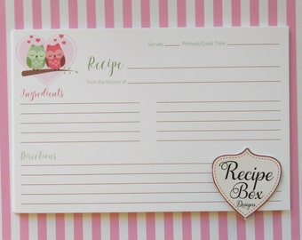 Recipe Cards Owls In Love Recipe Cards 25 Cards to a Set 6x4