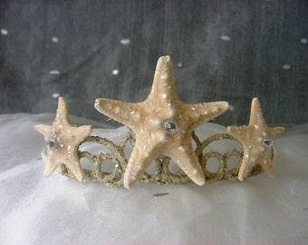 Starfish Mermaid Crown Beach Wedding Tiara, Natural