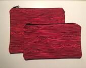 Zipper Bag Set / Essential Oil Bag / Make Up Bag - Red Wood